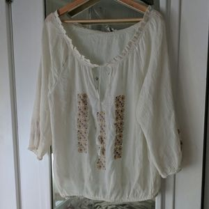 Joie Cream Embroidered Peasant Gauzy Blouse